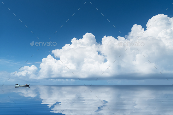 beautiful white clouds on the sea - Stock Photo - Images