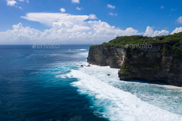 uluwatu cliff of bali island landscape - Stock Photo - Images