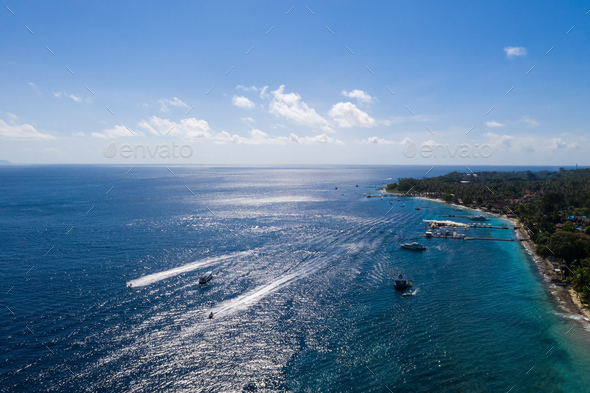 blue seascape in bali island - Stock Photo - Images