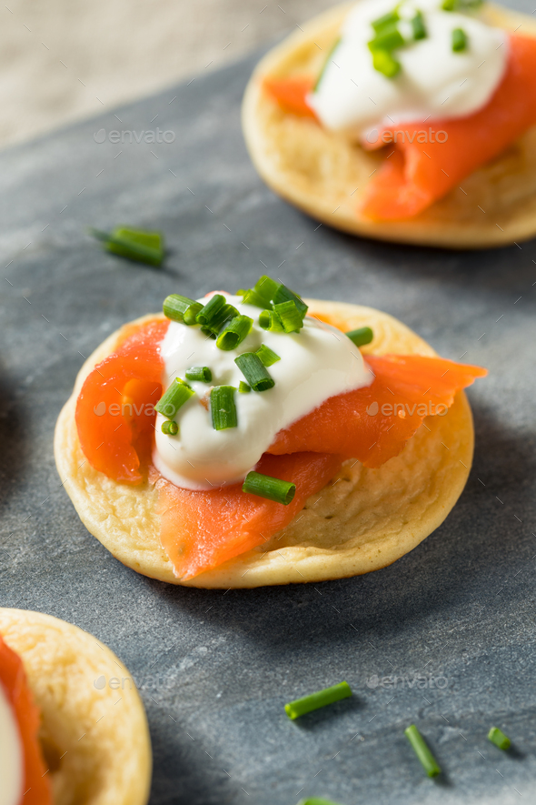 Homemade Smoked Salmon Cocktail Blinis - Stock Photo - Images