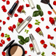 Bottles of woman perfume with cosmetic products and red roses on white background - PhotoDune Item for Sale