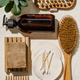 Zero waste, eco friendly bathroom accessories on linen fabric background - PhotoDune Item for Sale