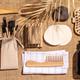 Zero waste, eco friendly bathroom accessories  on burlap fabric background - PhotoDune Item for Sale