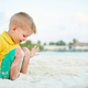 Three year old toddler boy on beach - PhotoDune Item for Sale