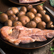 roasted turkey fillets mushrooms and other vegetables, on classic wooden board - PhotoDune Item for Sale