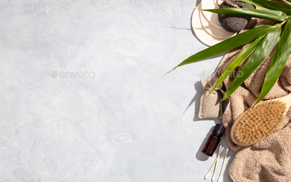 Zero waste, eco friendly bathroom accessories on concrete background - Stock Photo - Images