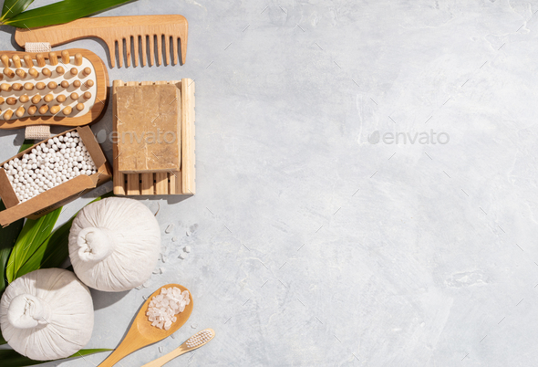Zero waste, eco friendly bathroom accessories on concrete background - Stock Photo - Images