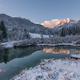 Beautiful sunrise at Zelenci springs in winter time. - PhotoDune Item for Sale
