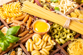 Assorted colorful italian pasta in wooden box - PhotoDune Item for Sale