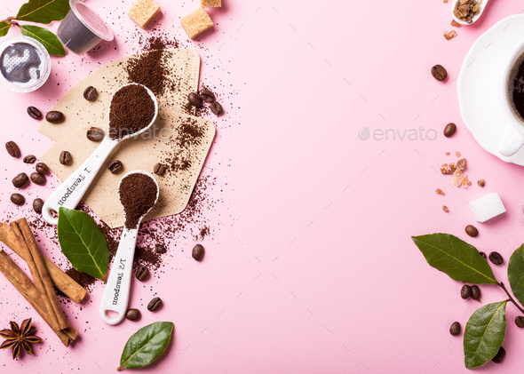 Food background with assorted coffee - Stock Photo - Images