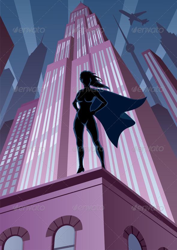 Super Heroine in City - Characters Vectors