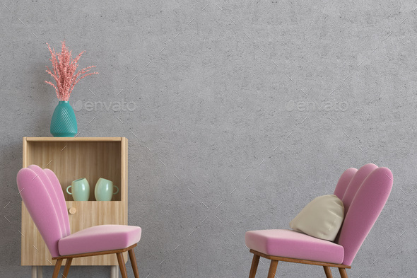 Minimalistic lounge room 3d rendering - Stock Photo - Images