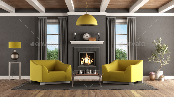 Classic living room with fireplace and modern furniture