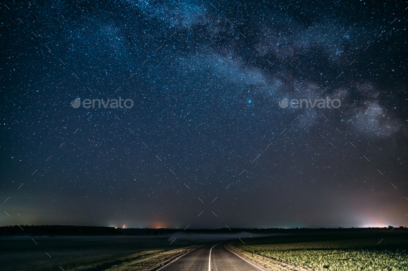Blue Night Starry Sky Above Country Asphalt Road In Countryside - Stock Photo - Images