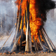 Bonfire of Wooden Boards and Car Tires, Flame of Red Fire, Curling Black Smoke - PhotoDune Item for Sale