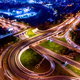 Night Aerial view of a freeway intersection traffic trails in ni - PhotoDune Item for Sale