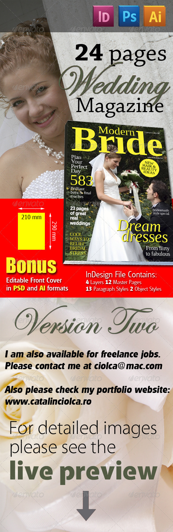 24 Pages Wedding Magazine Version Two - Magazines Print Templates