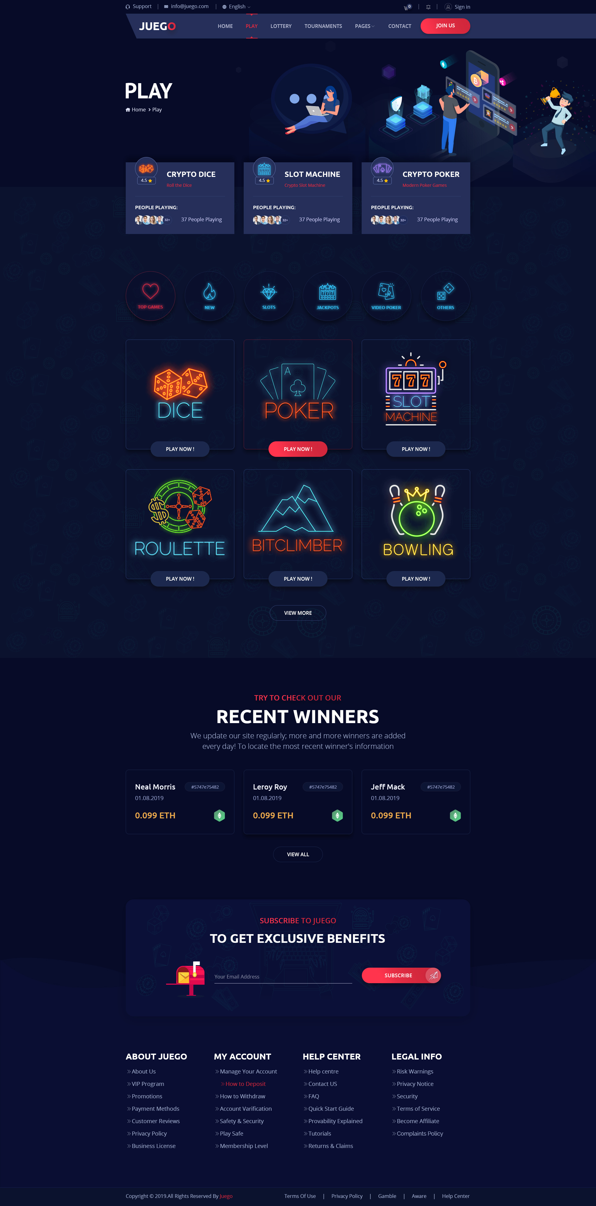 Juego - CryptoGaming Website PSD Templates