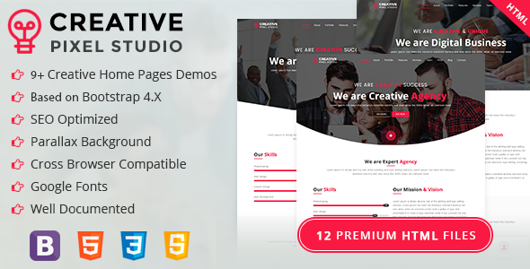 Creative Pixel Studio - Onepage HTML Template (Business, Creative, Agency, Corporate, Portfolio)