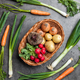 Fresh organic root vegetables on rustic background - PhotoDune Item for Sale