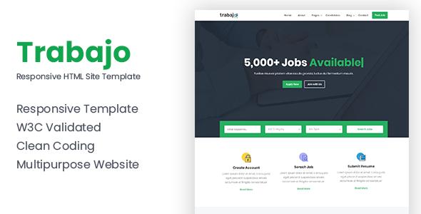 Trabajo - Responsive Job Portal Website Template by themeix