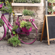 bistro store front with pink bicycle and chalk board - PhotoDune Item for Sale