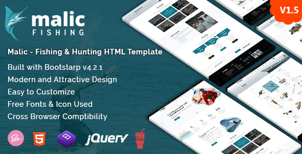 Marvelous Malic - Fishing & Hunting Club HTML Template + RTL