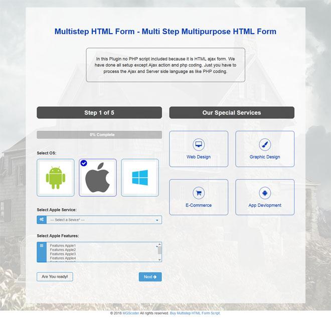 Multistep HTML Form - Multi Step Multipurpose HTML Form