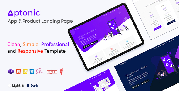 Aptonic - App Landing Page by HtmlLover