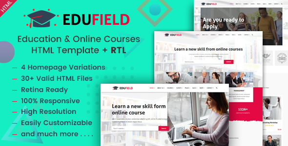 Great EduField - Education and Online Courses HTML Template