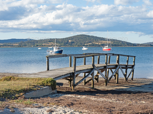 Jetty at St Helens, Tasmania - Stock Photo - Images