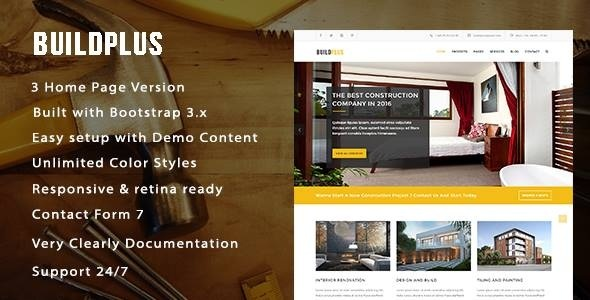 BuildPlus Responsive Construction and Renovation WordPress Theme