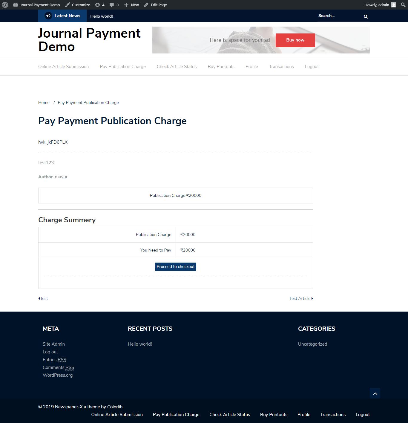 Journal Payment Wordpress Addon Plugin