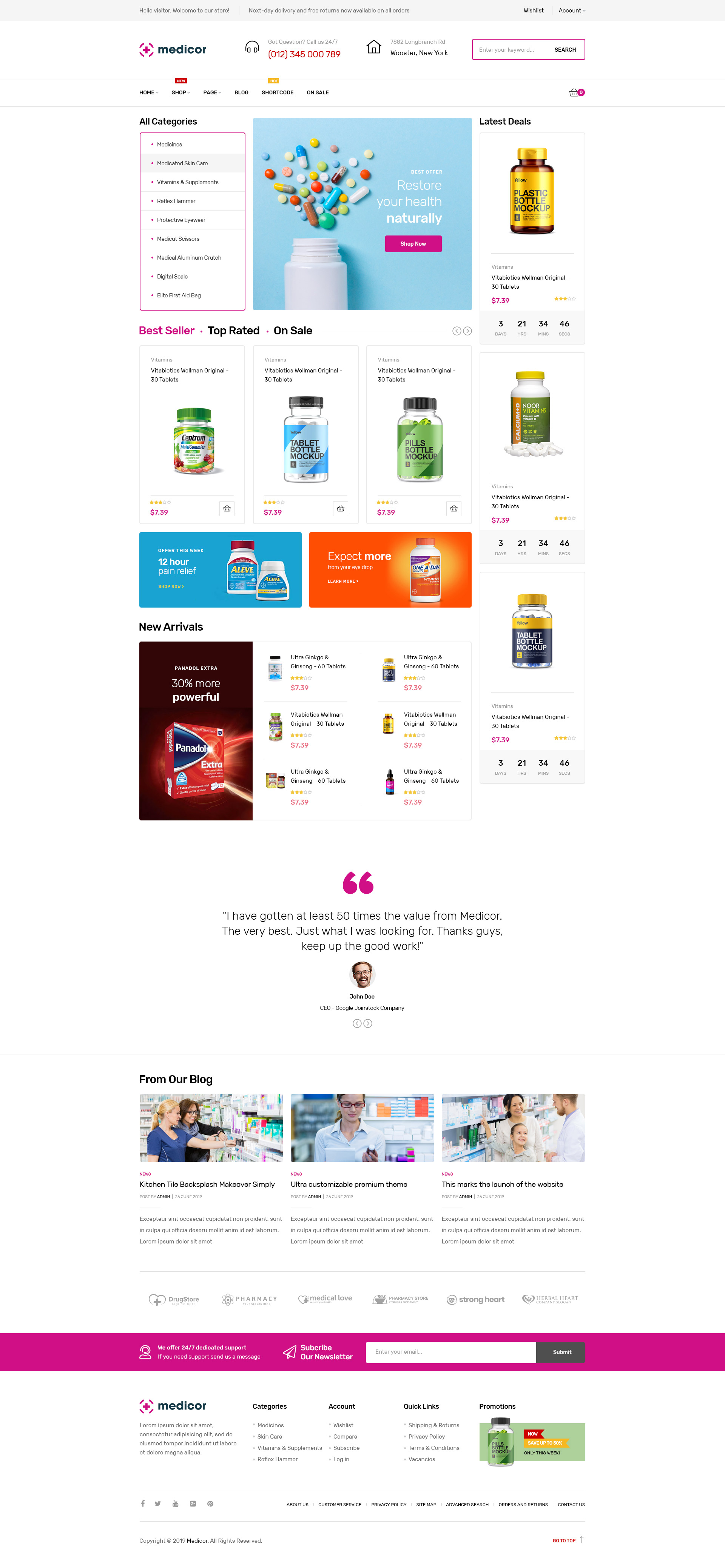 Medicor - Medical Clinic & Pharmacy WooCommerce WordPress Theme
