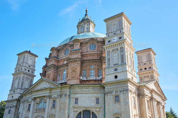 Vicoforte church in a sunny summer day in Italy - Stock Photo - Images
