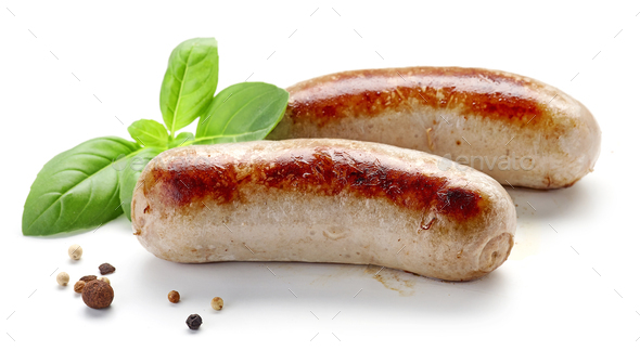 grilled sausages on white background - Stock Photo - Images