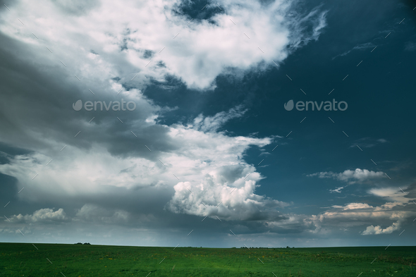 Countryside Rural Field Meadow Landscape In Summer Rainy Day. Sc - Stock Photo - Images