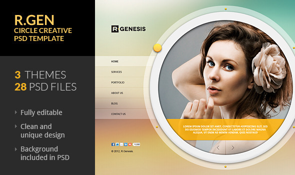 R.Gen - Circle Creative PSD Template - Creative PSD Templates