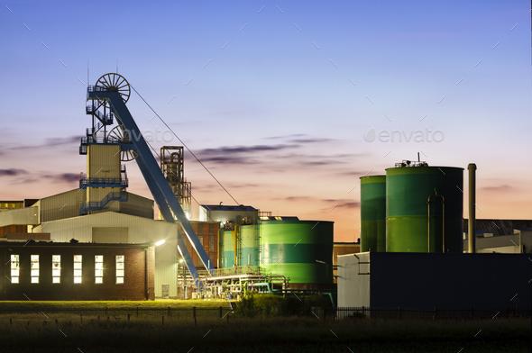 Salt Mine At Dusk - Stock Photo - Images
