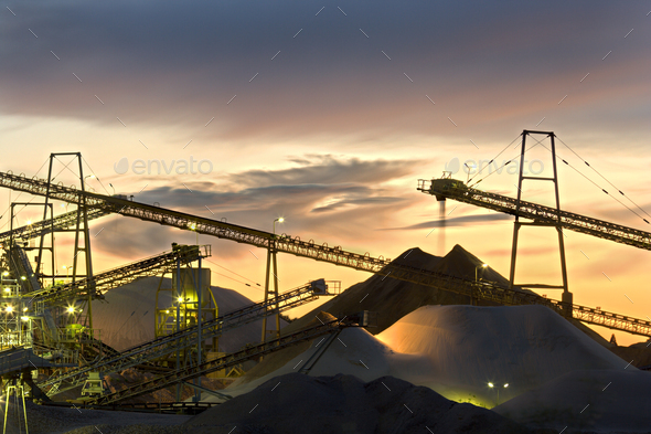 Sand Plant Conveyor Belts With Moody Sky - Stock Photo - Images