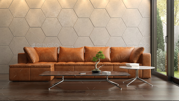 Interior of modern living room with sofa 3D rendering - Stock Photo - Images