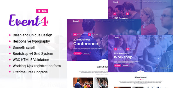 Event4 - Responsive Marketing Landing Pages by NewTemplete