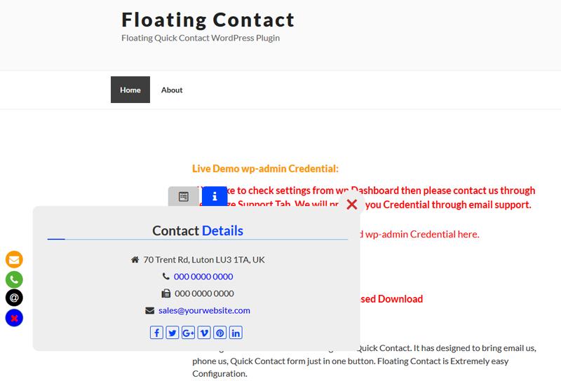 Floating Contact - Floating Quick Contact WordPress Plugin