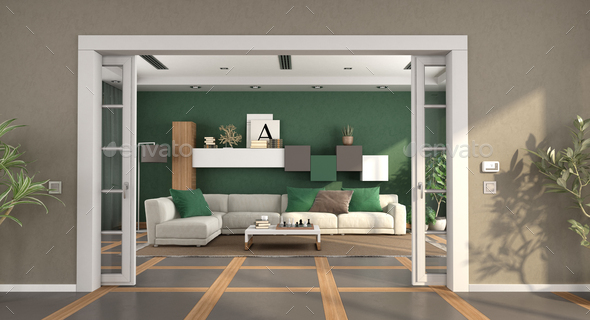 Living Room With Open Sliding Door And Sofa On Background 3d Rendering Stock Photo By Archideaphoto
