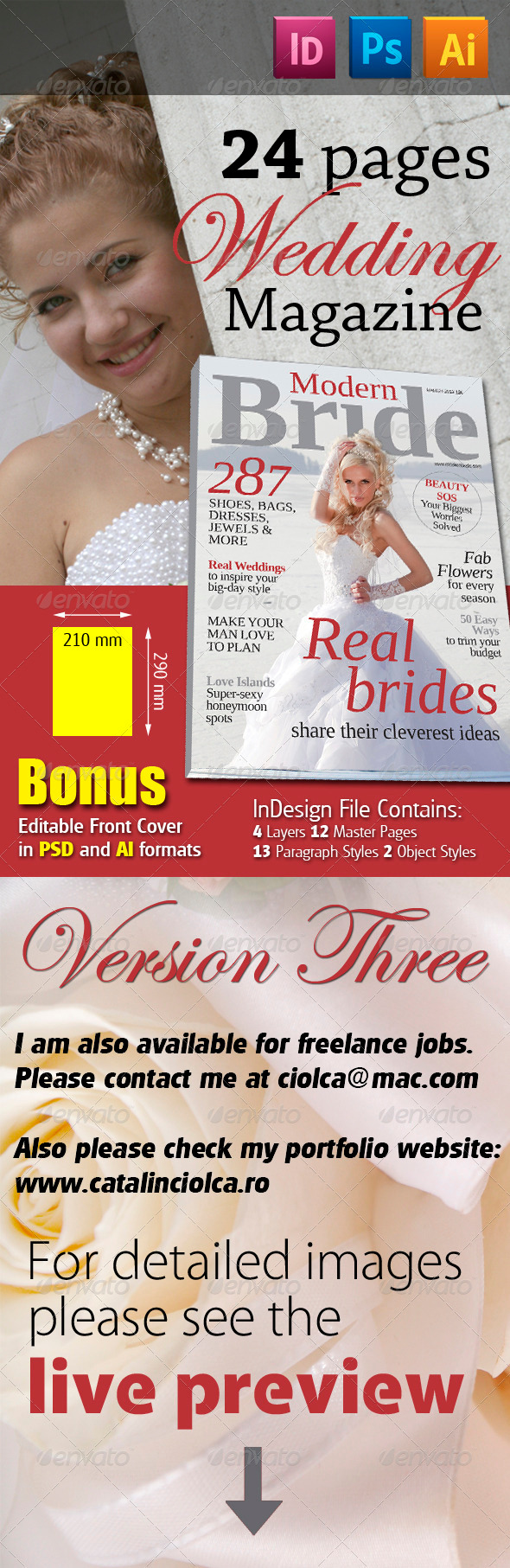 24 Pages Wedding Magazine Version Three - Magazines Print Templates