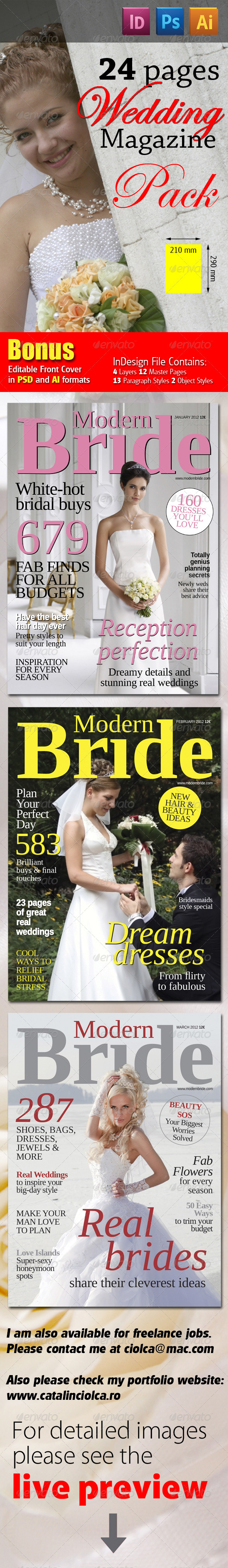 68 Pages Wedding Magazine Pack - Magazines Print Templates