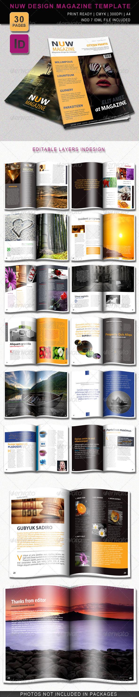 Nuw Design Magazine Template - Magazines Print Templates