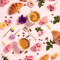 Morning coffee, croissants and a beautiful flowers . Flat lay style. - PhotoDune Item for Sale
