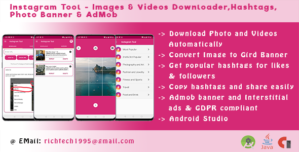 Instagram Tool - Images & Videos Downloader,Hashtags,Photo Banner & AdMob