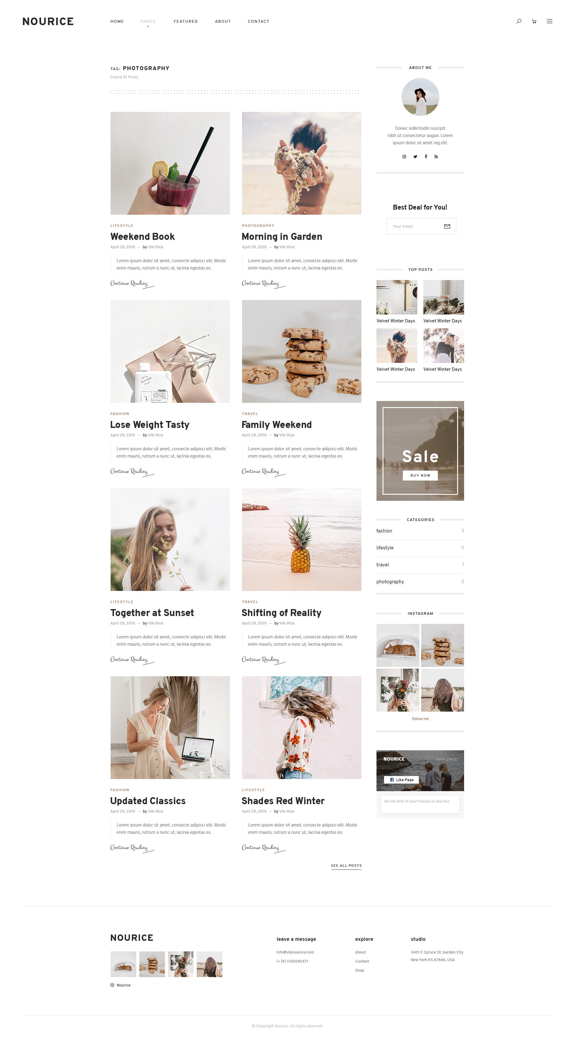 Nourice - Blog & Shop PSD Template